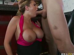 Slutty Waitress Alanah Rae Titty Fucks and Deep Throats a Customer tube porn video