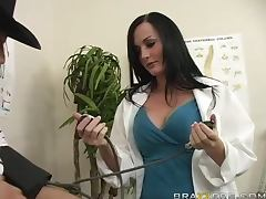 Sexy doctor Melissa Lauren cures her patient KJ and rides his dick tube porn video