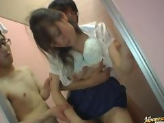 Drunk Japanese girl gets her snatch fucked hard in the toilet tube porn video