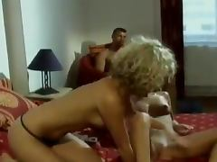 Two busty babes are going lesbian and gtting fucked tube porn video