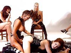 Strapon lesbians in hot latex slippery fun tube porn video