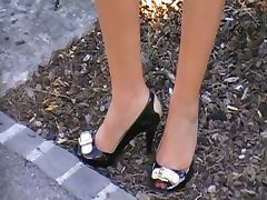 nice legs with peep toe heels on the walk tube porn video