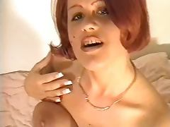 Amateur redhead in nylons gets cum all over tube porn video