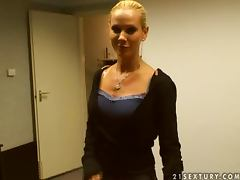 Brunette honey Cameron and blondie Sandy are in our office tube porn video
