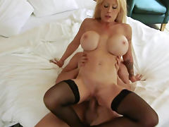 Big titty blonde Candy Manson is riding on dick tube porn video