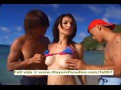 Maria Ozawa innocent pretty Chinese blowjob guys on the beach tube porn video