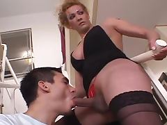 Karen the shemale with huge cock fucks a guy on a sofa tube porn video