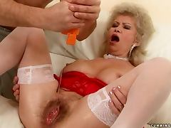 Lewd granny Effie gets her hairy pussy and ass stuffed with dildos tube porn video