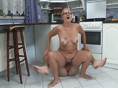 Horny granny sucks and fucks in kitchen tube porn video