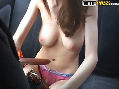 Busty Beautiful Girl Giving a Blowjob in the Backseat of a Car tube porn video