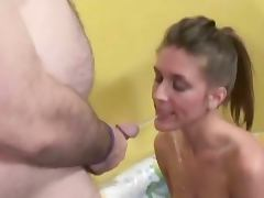 Chick in nasty pissing threesome tube porn video