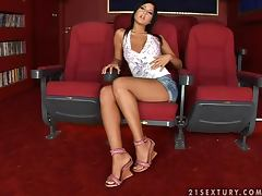 Amazingly hot brunette bitch all alone in the cinema tube porn video