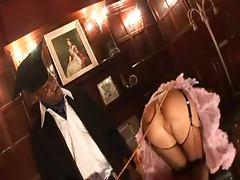British slut Suzie Best gets fucked up the arse in fishnets tube porn video