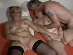 Two mature German blondes get their vags licked and drilled by some dude tube porn video