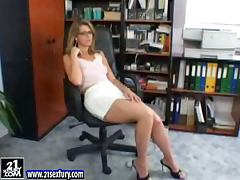 Katalin the sexy secretary plays with her pussy in the office tube porn video