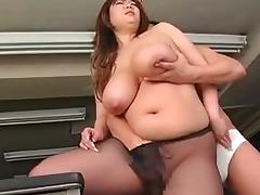 Fat Japanese office chick sucks a cock and gets nailed tube porn video