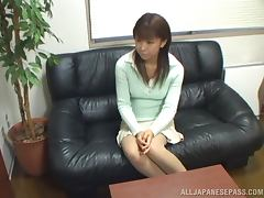 Amateur Japanese girl gets fucked at the interview tube porn video