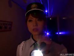 Japanese police woman gives hot footjob to a burglar tube porn video