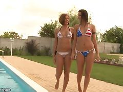 Cindy Hope and Cipriana play lesbian games on the poolside tube porn video