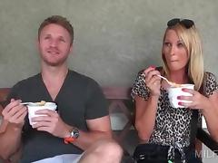 Blonde handsome dude talking a gorgeous MILF into sex tube porn video