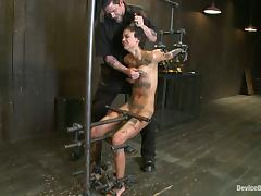Slim and tattooed Bonnie Rotten gets chained in the stocks tube porn video