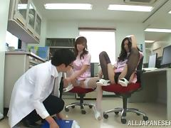 POV threesome with two petite Japanese nurses tube porn video
