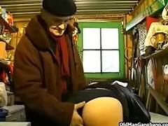 Blindfolded fuck in a workshop tube porn video