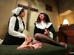 Kinky Lesbian Nuns Maitresse Madeline and Gia Dimarco Having Feet Sex tube porn video