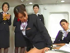 Asian business woman is sucking in the plane tube porn video