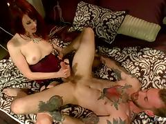 Tattooed Guy Gets Jerked Off while Maitresse Madeline Strapon Fucks Him tube porn video