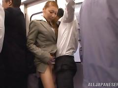 Japanese skank makes out with a stranger in a bus and rubs his dick tube porn video