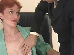 Thin, Short Haired Redhead Banged In The Office tube porn video