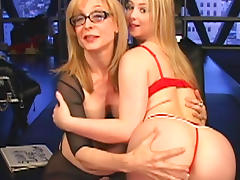 Blonde submissive receives spanking from her dominatrix tube porn video