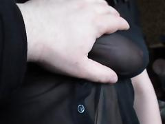 Touching her tits in a see-through blouse tube porn video