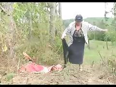 Big Tit Granny Fucks in the Woods tube porn video