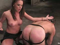 Penny Flame with a Big Strapon Dildo To Bang a Dude's Asshole in Femdom tube porn video
