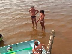 Students' group orgy at the lake tube porn video