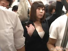 Busty Japanese milf gets her cunt toyed and fucked in a bus tube porn video