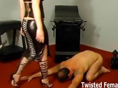 Two merciless dommes double team the new slave tube porn video