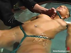 Gorgeous Isis Love gets tied up and tortured with ice cold water tube porn video