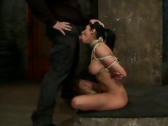 Deepthroat by a smoking hot brunette sex slave tube porn video