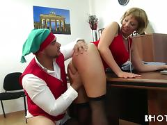 bossy milf fucks her employee after christmas party tube porn video