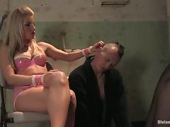 Blonde Ashley Fires Making Guy Eat Her Pussy in Bondage Femdom Video tube porn video