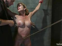 Felony gets multiple orgasms while being tortured in a cellar tube porn video