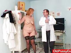 Redhead gran pussy gaping at gyno clinic tube porn video