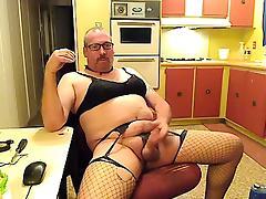CrossDresser masturbates & cums wearing white lingerie tube porn video