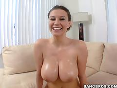 Hot ride on the couch with a curvy and oiled milf Sara Stone tube porn video