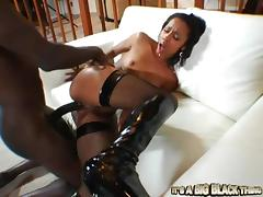 Sexy ebony in stockings gets her black man sweating tube porn video