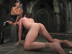 Shy Love dominates a guy and fucks him in a basement tube porn video