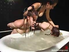 Two redhead bitches in stockings get punished in BDSM video tube porn video